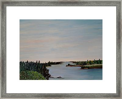 Framed Print featuring the painting A River Shoreline by Marilyn  McNish