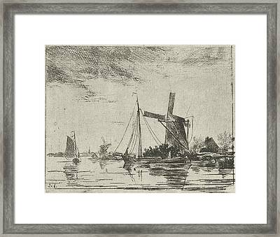 A River View With Some Boats, In The Background A Mill Framed Print