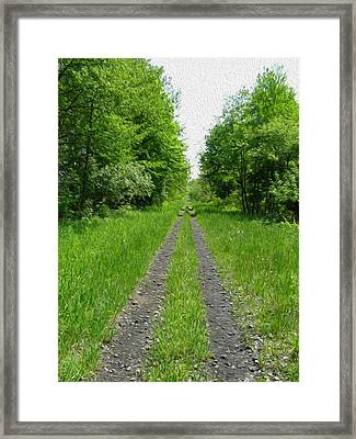 A Road Painted - Digital Painting Effect Framed Print by Rhonda Barrett
