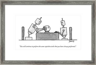 A Robot  Consults A Crystal Ball And Speaks Framed Print