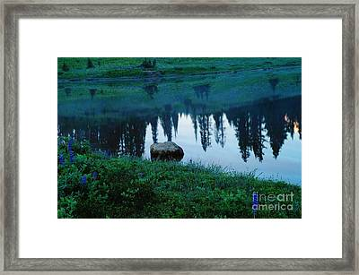 A Rock In The Reflection Framed Print by Jeff Swan