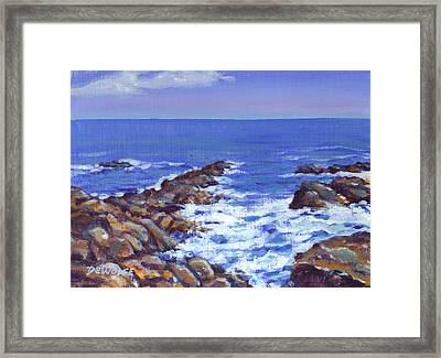 A Rocky Coast Framed Print by Richard De Wolfe