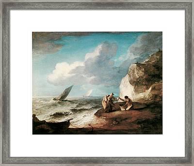 A Rocky Coastal Scene Framed Print by Thomas Gainsborough