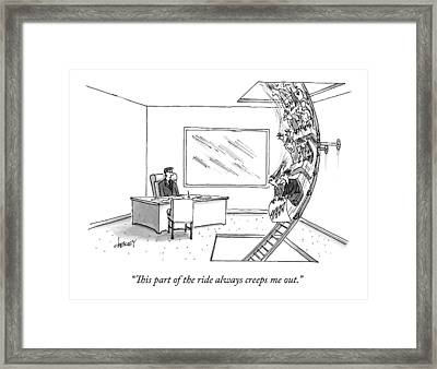A Rollercoaster Passes Through A Ceo's Office Framed Print