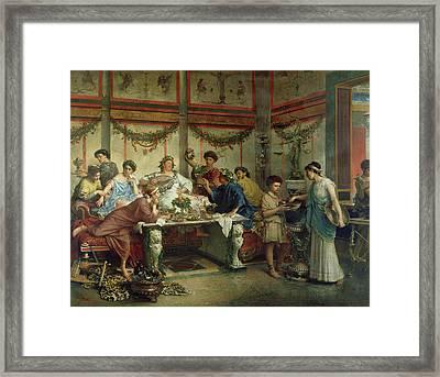 A Roman Feast Roberto Bompiani, Italian Roman Framed Print by Litz Collection