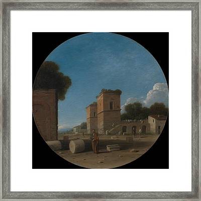 A Roman Landscape With Figures Framed Print by Goffredo Wals