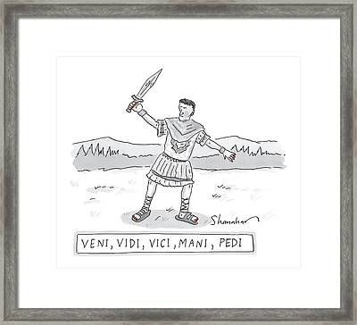 A Roman Soldier With Painted Red Toenails Framed Print by Danny Shanahan