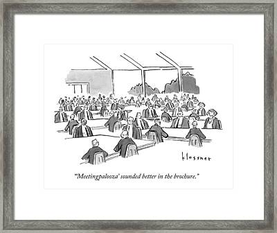 A Room Holds Dozens Of Conference Tables Framed Print