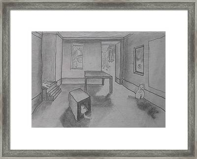 Framed Print featuring the drawing A Roomful Of Cats by AJ Brown