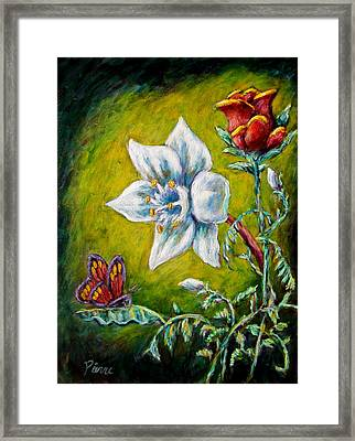 A Rose A Lily And A Butterfly Framed Print