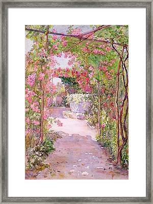 A Rose Arbor And Old Well, Venice Framed Print