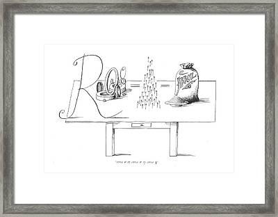 A Rose Is A Rose Is A Rose Framed Print by Saul Steinberg