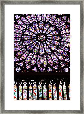 A Rose Window In Notre Dame Cathedral Framed Print by William Sutton