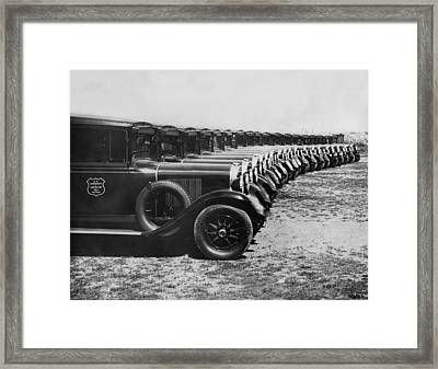 A Row Of Graham Automobiles Framed Print by Underwood Archives