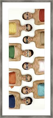 A Row Of Models In Strapless Tops And Sunglasses Framed Print