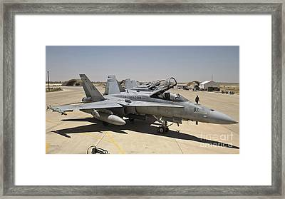 A Row Of U.s. Marine Corps F-18 Hornets Framed Print by Stocktrek Images