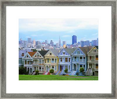 A Row Of Victorian Homes Typify San Framed Print by John Alves