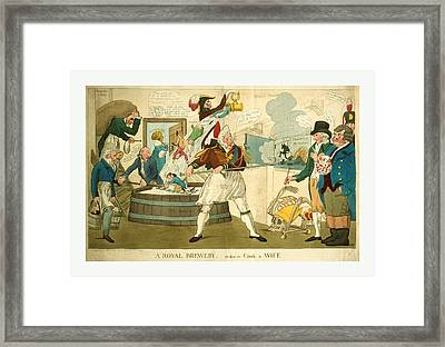 A Royal Brewery, Or How To Cook A Wife, Engraving 1821 Framed Print
