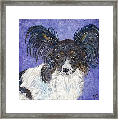 Framed Print featuring the painting A Royal Papillon by Ella Kaye Dickey