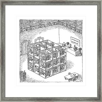 A Rubik's Cube Comprised Of Cubicles With Workers Framed Print