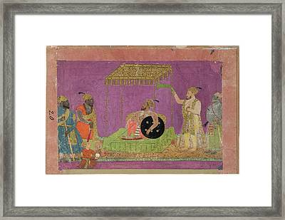 A Ruler With Courtiers Framed Print by British Library