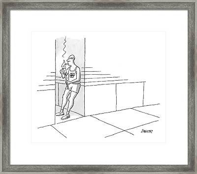 A Runner Wearing An Olympic Vest Stands In An Framed Print