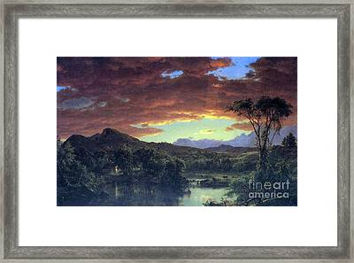 A Rural Home By Frederick Edwin Church Framed Print