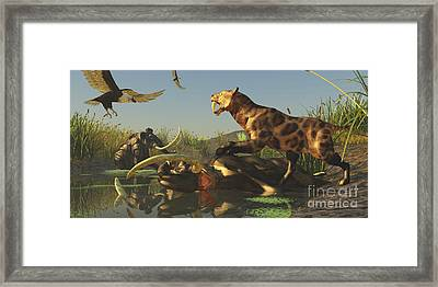 A Saber Tooth Cat Attacks A Woolly Framed Print by Corey Ford