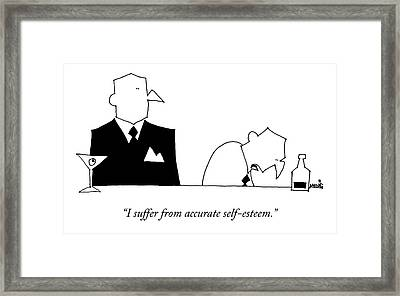 A Sad Looking Man At A Bar Speaks To Another Man Framed Print