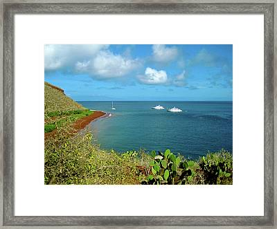 A Sailboat And Yachts With Tourists Framed Print