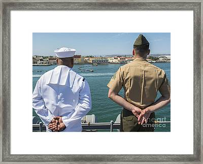 A Sailor And Marine Man The Rails Framed Print by Stocktrek Images