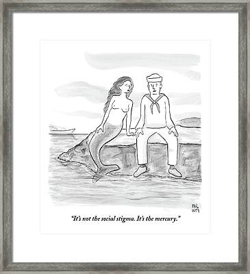 A Sailor Breaks Up With His Naked Mermaid Framed Print by Paul Noth