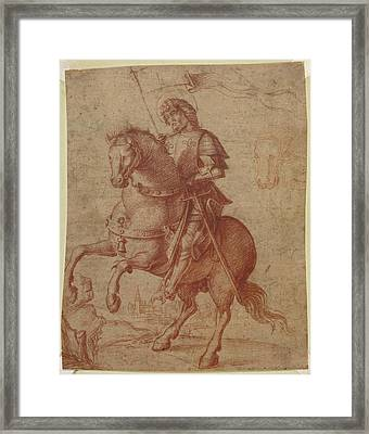 A Saint On Horseback Circle Of Giovanni Battista Cima Da Framed Print by Litz Collection
