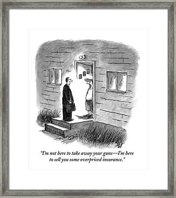 A Salesman Comes To The Door Of A Disgruntled Framed Print