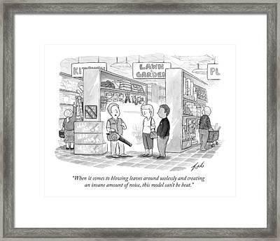 A Salesman Shows A Couple A Leaf Blower Framed Print by Tom Toro