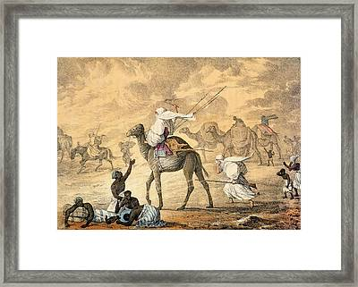 A Sand Wind On The Desert Framed Print by Captain George Francis Lyon