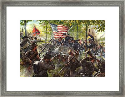 A Savage Encounter Framed Print by Dan Nance