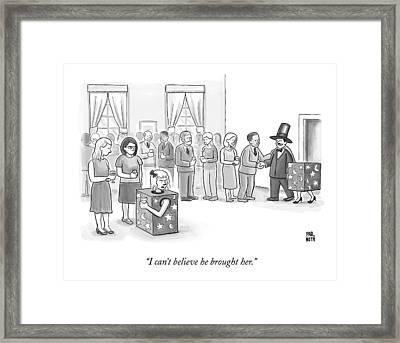 A Sawed-in-half Magician's Assistant Scowls Framed Print by Paul Noth