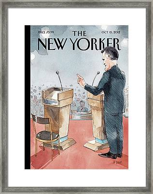 A Scene From The Presidential Debate Framed Print by Barry Blitt