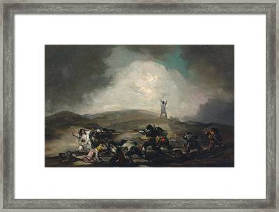 A Scene From The Spanish War Of Independence Framed Print