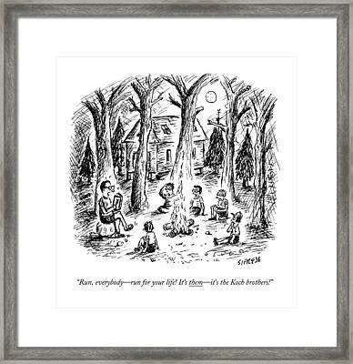 A Scout Leader Tells A Group Of Young Campers Framed Print by David Sipress