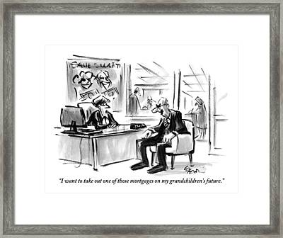 A Scrooge-like Old Man Consults With A Bank Framed Print
