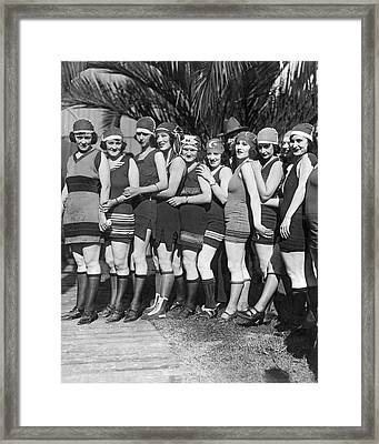 A Scrunch Of Beach Flappers Framed Print by Underwood Archives