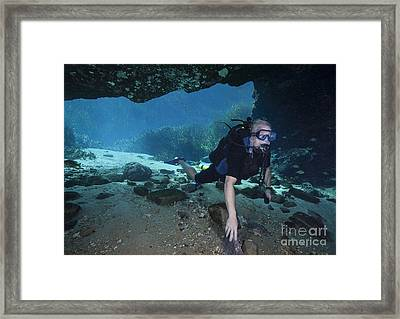 A Scuba Diver Explores The Blue Springs Framed Print
