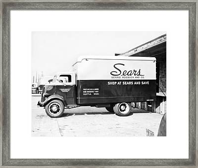 A Sears Roebuck Delivery Truck Framed Print by Underwood Archives