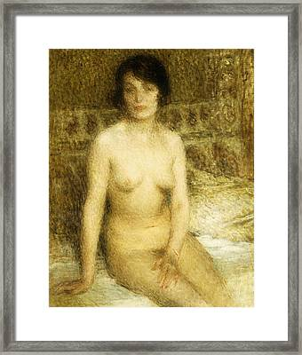 A Seated Nude Framed Print by Ernest-Joseph Laurent