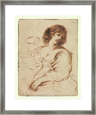 A Seated Young Woman Looking Framed Print by Guercino