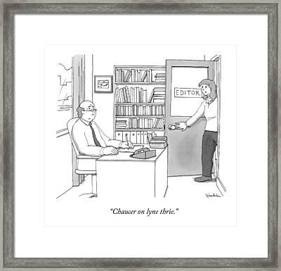 A Secretary Informs An Editor Framed Print by Charlie Hankin