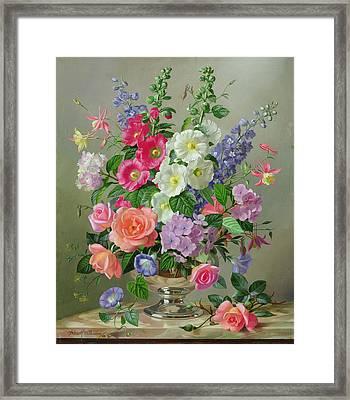 A September Floral Arrangement Framed Print
