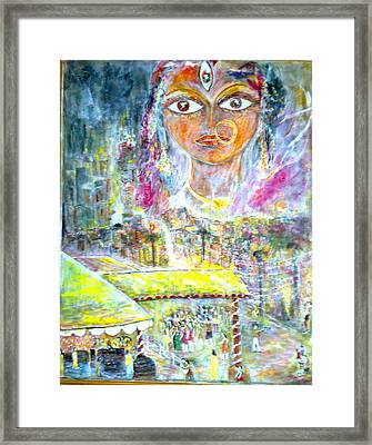 a sequence of Durgapuja evening Framed Print